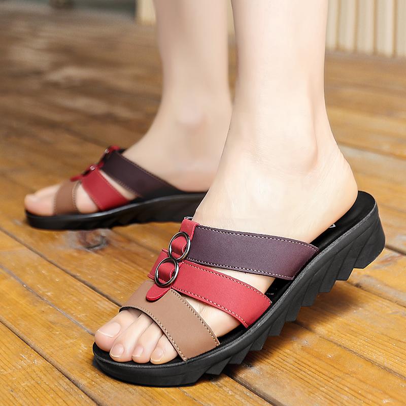 夏季中老年女鞋50平底妈妈一字拖60软底防滑老人凉鞋70岁轻便拖鞋