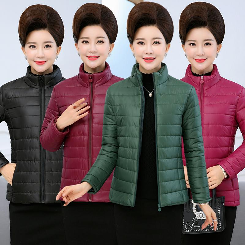 中老年女装轻薄小棉衣短款羽绒棉服中年妈妈装秋冬装外套加厚棉袄