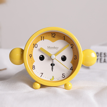 Monkey alarm clock primary school students with cute cartoon creative personality children's bedroom bedside mute Mini night light simple