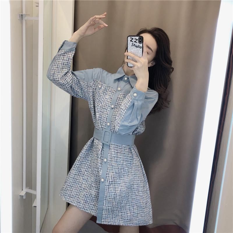 法式桔梗长袖连衣裙2020年流行女装新款初春季小香风气质显瘦裙子