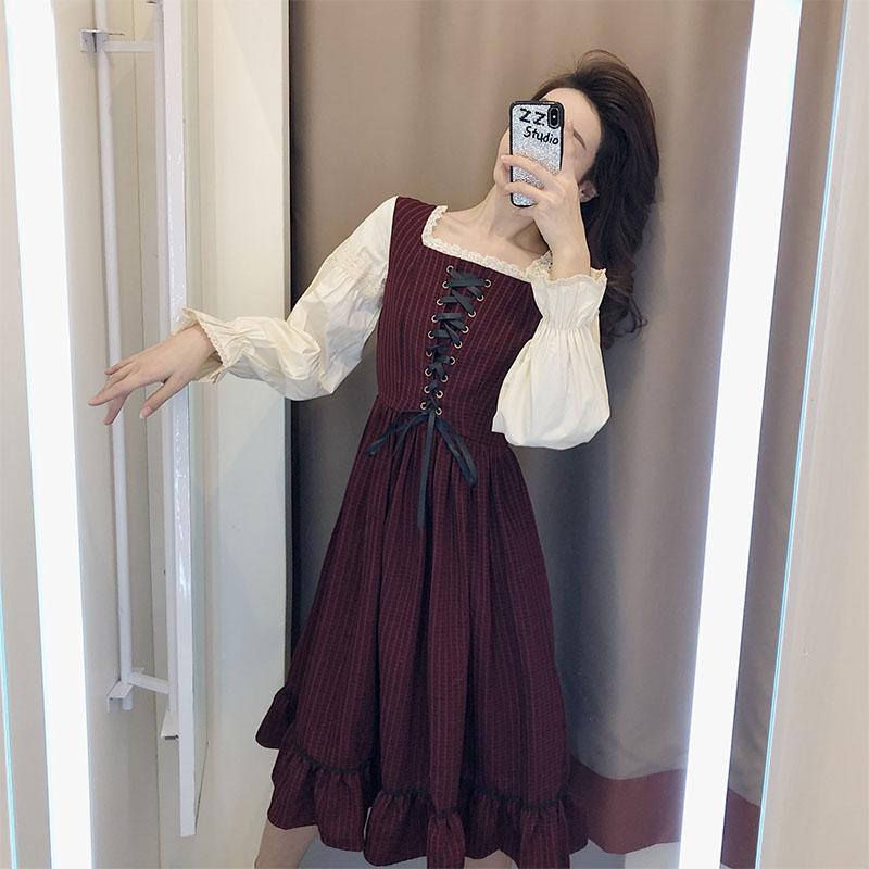 法式复古丝绒连衣裙2020年新款女装春季流行新年衣服内搭打底裙女