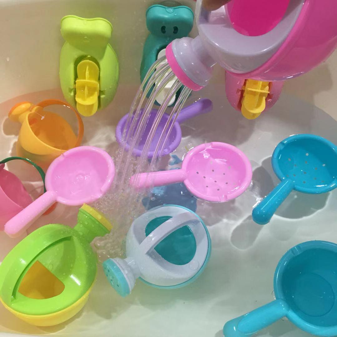 儿童洗澡戏水玩具宝宝婴儿洗头杯花洒水车转转乐小黄鸭玩具套装(非品牌)