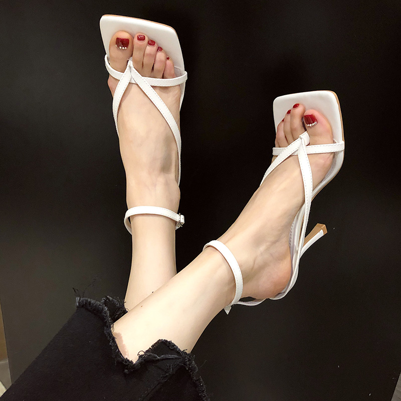 Clip toe high-heeled sandals womens 21 spring new versatile fairy style with thin heel square head