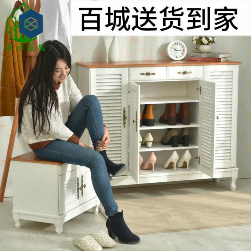 美式四门纯实木鞋柜 全实木 鞋柜百叶门透气家用收纳大容量玄关柜