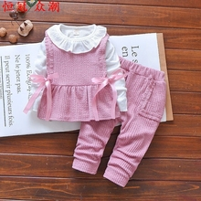 Two sets of foreign style outwear fashion suits, all sets of children's clothes, baby girls and children in spring and autumn breathable new spring