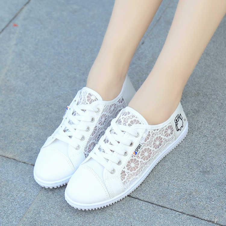 夏季小白鞋帆布鞋蕾丝透气鞋镂空平底学生网面鞋百搭系带跑步女鞋图片