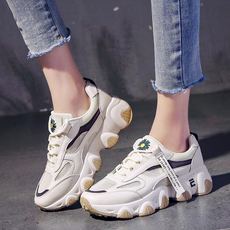 夏季网面透气新款女鞋厚底增高5cm小白鞋韩版潮百搭休闲运动鞋女