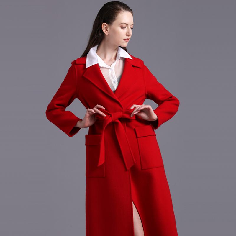 新款纯手工修身双面羊绒大衣女中长款高端呢子系带新款羊毛外套