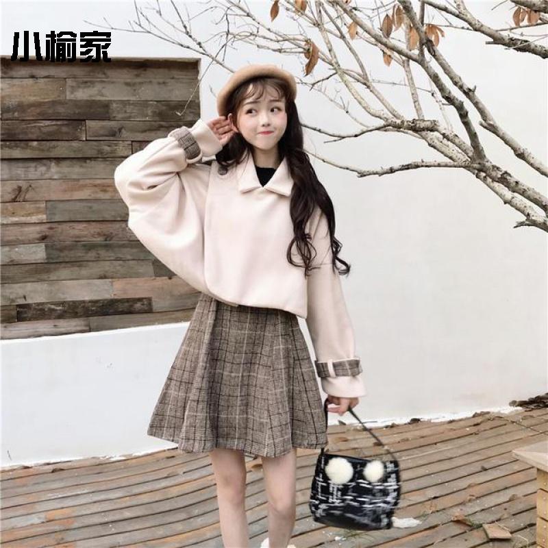 两件套装裙秋冬季女装韩版宽松斗篷毛呢加厚外套+格子裙网红甜美