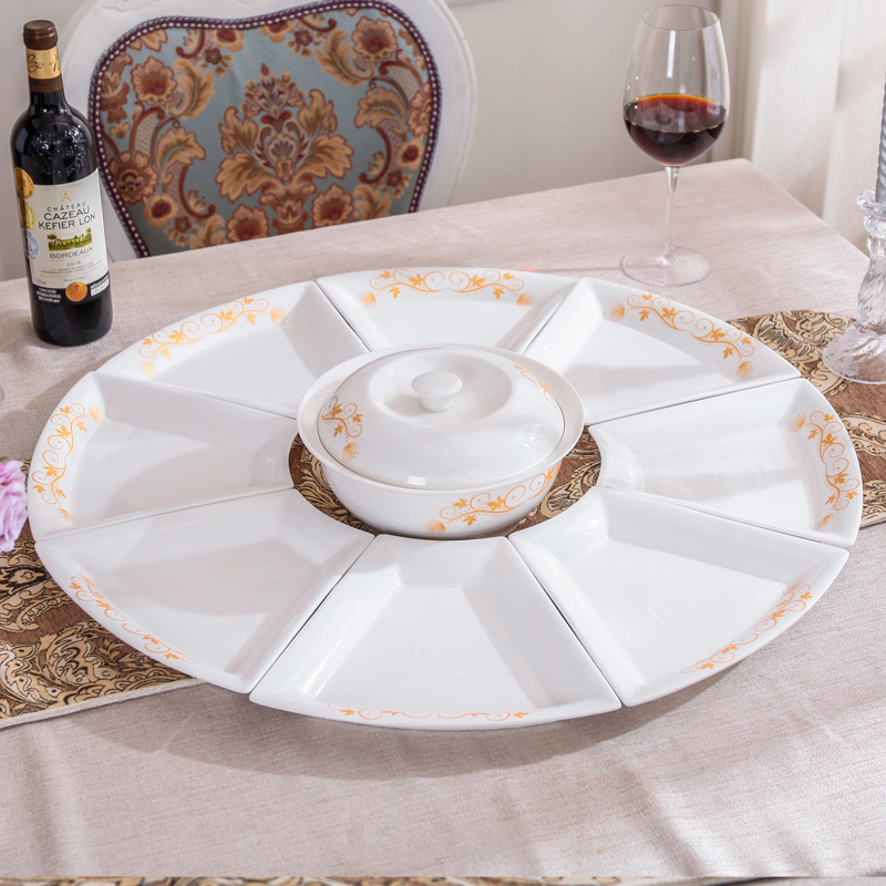 Nordic style reunion ceramic platter tableware round table plate combination household dish and bowl set net red fan-shaped dish