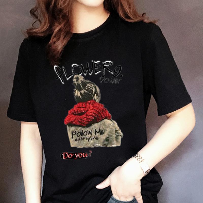 夏装黑色t恤女短袖纯棉圆领宽松大码韩版印花半袖白色修身显瘦潮