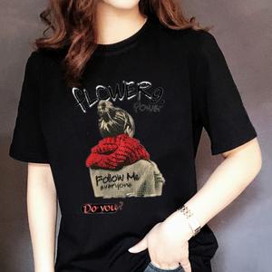 领10元券购买夏装黑色t恤女短袖纯棉圆领宽松大码韩版印花半袖白色修身显瘦潮