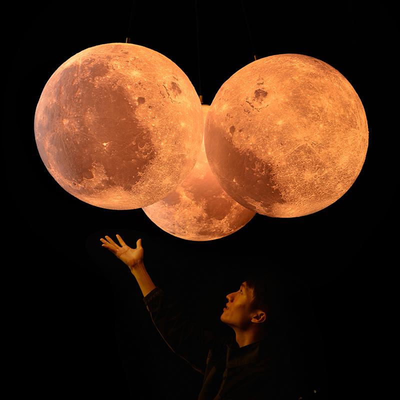月球灯 大 星球灯床头月亮灯餐厅创意灯饰网红灯具3d打印月球吊灯
