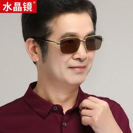 天然水晶养目眼镜男 茶色平光型方形框水晶太阳镜礼盒图片
