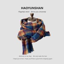 英伦复古格子仿羊绒围巾女秋冬韩版学生加厚保暖长款披肩两用围脖