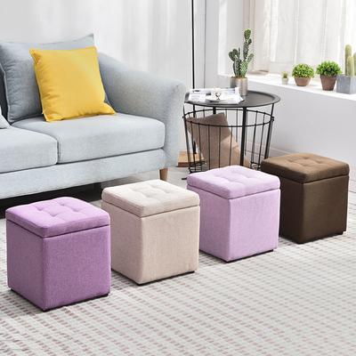 收纳凳换鞋矮凳子时尚客厅沙发凳创意储物凳家用布艺搁脚凳小凳子