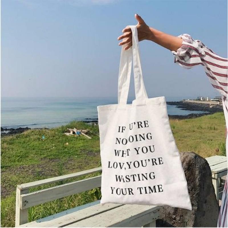 %100帆布包女学生简约韩版单肩包休闲文艺女包字母手提帆布购物袋