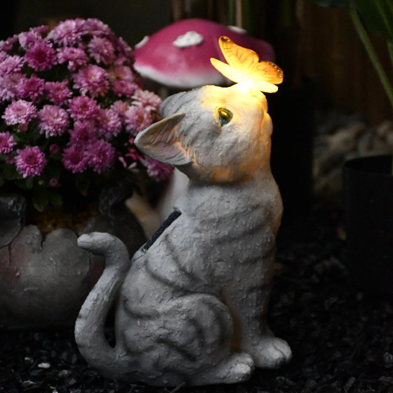 阳台花园装饰庭院布置可爱猫咪摆件太阳能灯户外创意树脂动物雕塑
