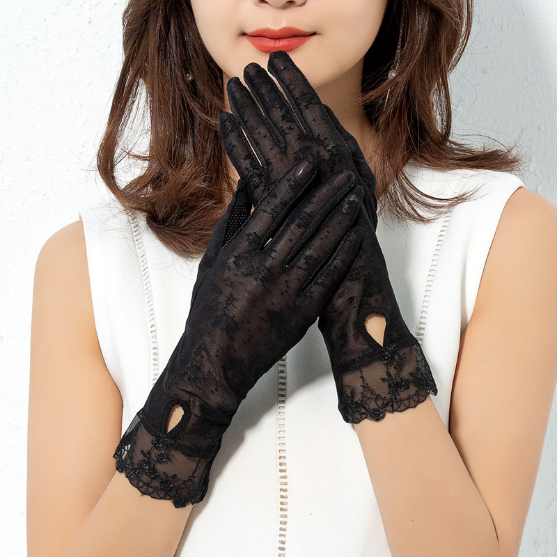 Sun protection gloves UV protection thin lace ice 2020 summer electric vehicle breathable touch screen anti slip lady