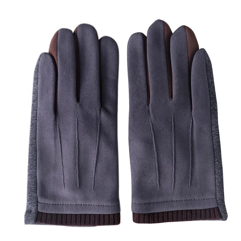 秋冬季加绒男士麂皮绒手套保暖开车韩版手套防寒骑行摩托车户外厚