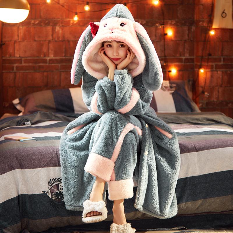 睡衣女秋冬季珊瑚绒加厚加绒长款睡袍可爱卡通法兰绒可外穿家居服