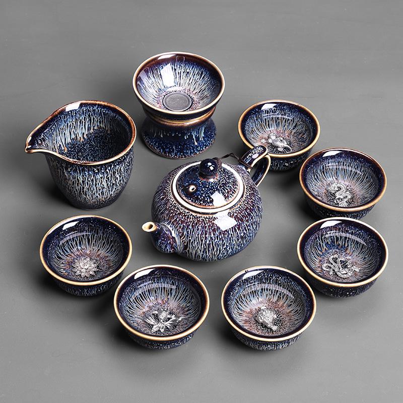 福建建阳建盏茶具套装12件纯手工建窑家用高档陶瓷功夫茶杯办公室
