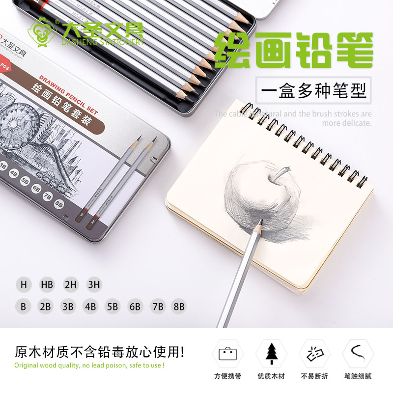 Dasheng stationery sketch 12 iron box set for beginners art students drawing tools full set of soft medium hard sketching pens for students