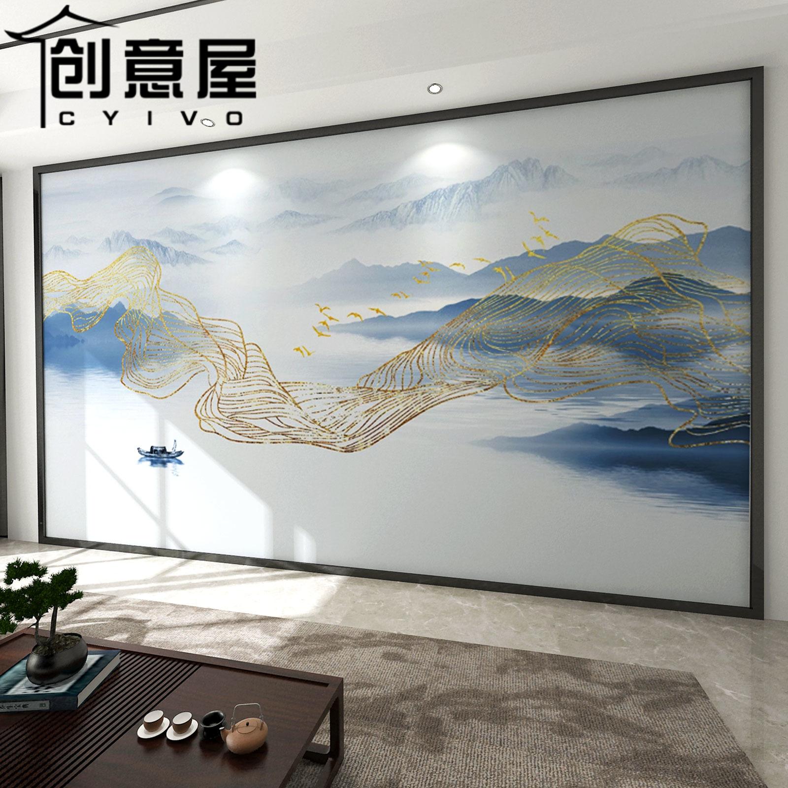 现代新中式抽象金色线条山水沙发客厅影视墙布电视背景墙壁纸壁画
