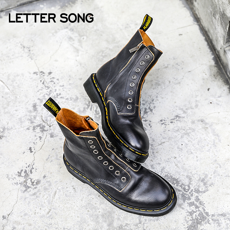 Dr Martin boots womens English short boots soft leather eight hole shoeless locomotive boots retro versatile handmade shoes 1460ll
