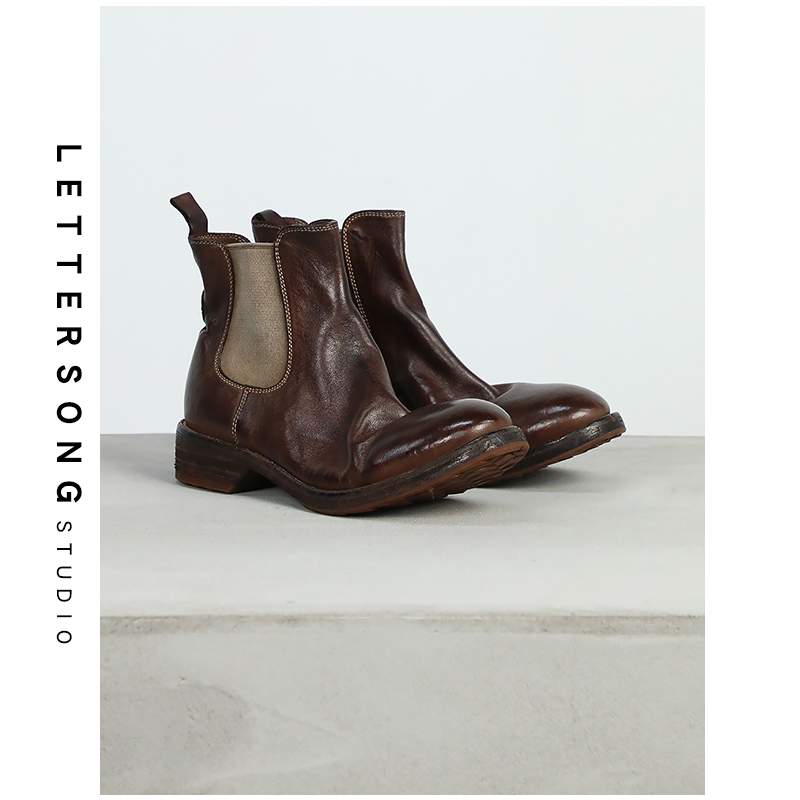Pure handmade Goodyear washed horse leather ghost emperor short boots female guidi Chelsea Martin boots Vintage single boots
