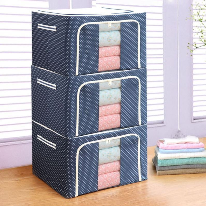 Storage box Oxford cloth foldable clothes wardrobe household sorting case with cover snacks thickened bedroom seasonal luggage