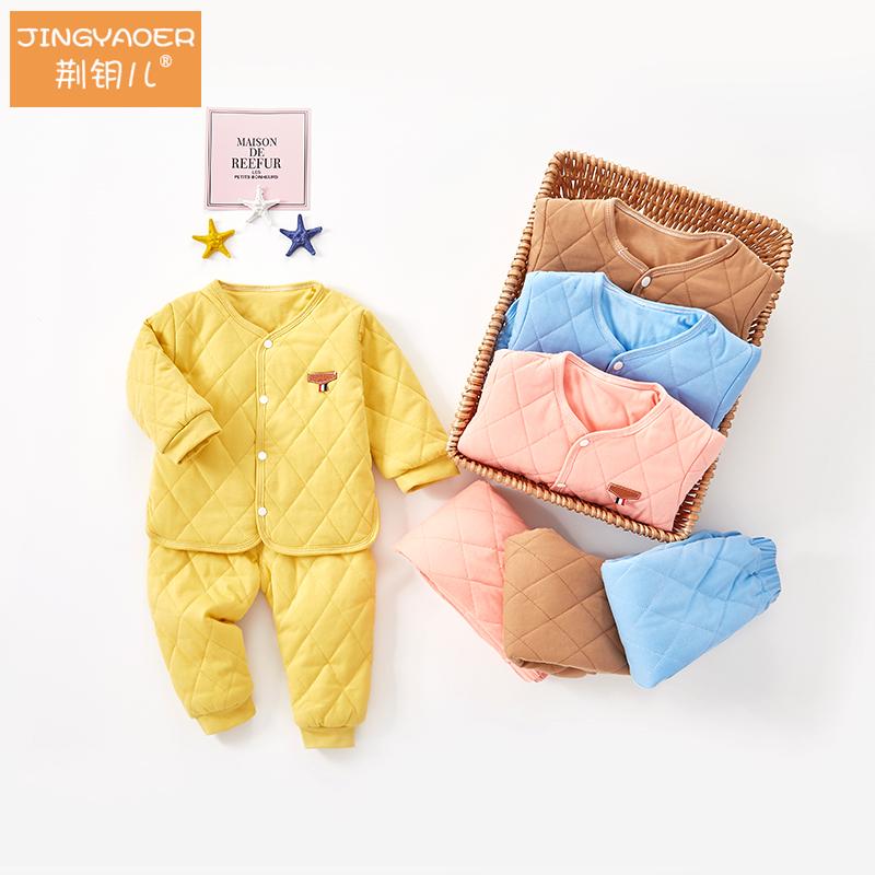 宝宝棉衣套装秋冬季薄棉婴儿秋装男女童装夹棉保暖居家睡衣两件套