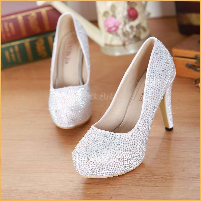 Waterproof table super high heel red white crystal shoes shiny diamond bride wedding shoes wedding dress bridesmaid womens single shoes