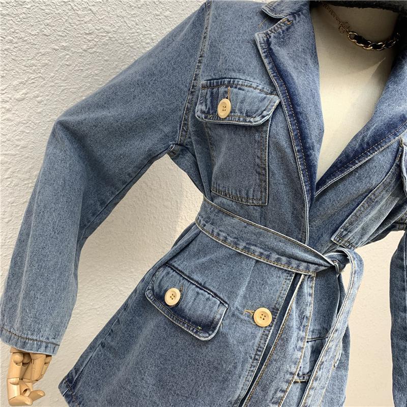 Winter 2019 loose Multi Pocket suit collar strap mid length Vintage washed denim jacket