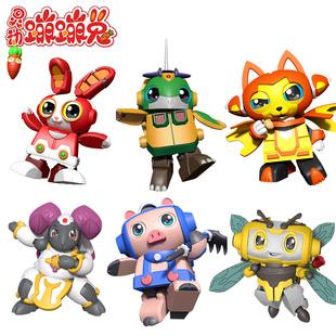 蹦蹦兔合体变形机器人益智玩具猫小椰鹰小宝黑焰龙 灵动创想正版