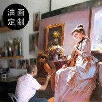 纯手工油画手绘肖像画婚纱照片真人油画宠物画抽象风景装饰画定制