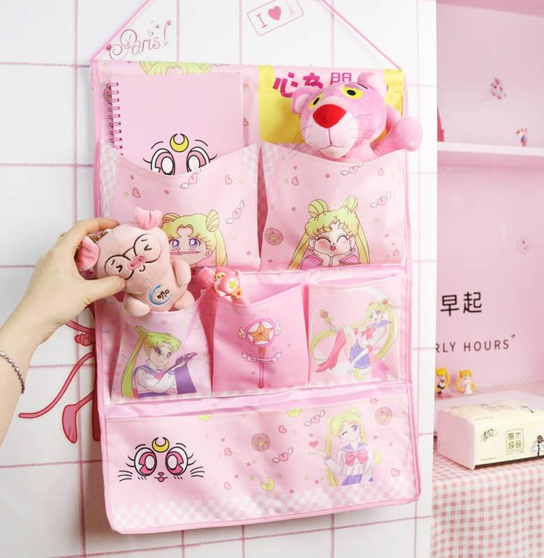 Lovely wall storage bag hanging door beautiful girl soldier Sailor Moon Doudou restaurant water ice moon hanging on the wall