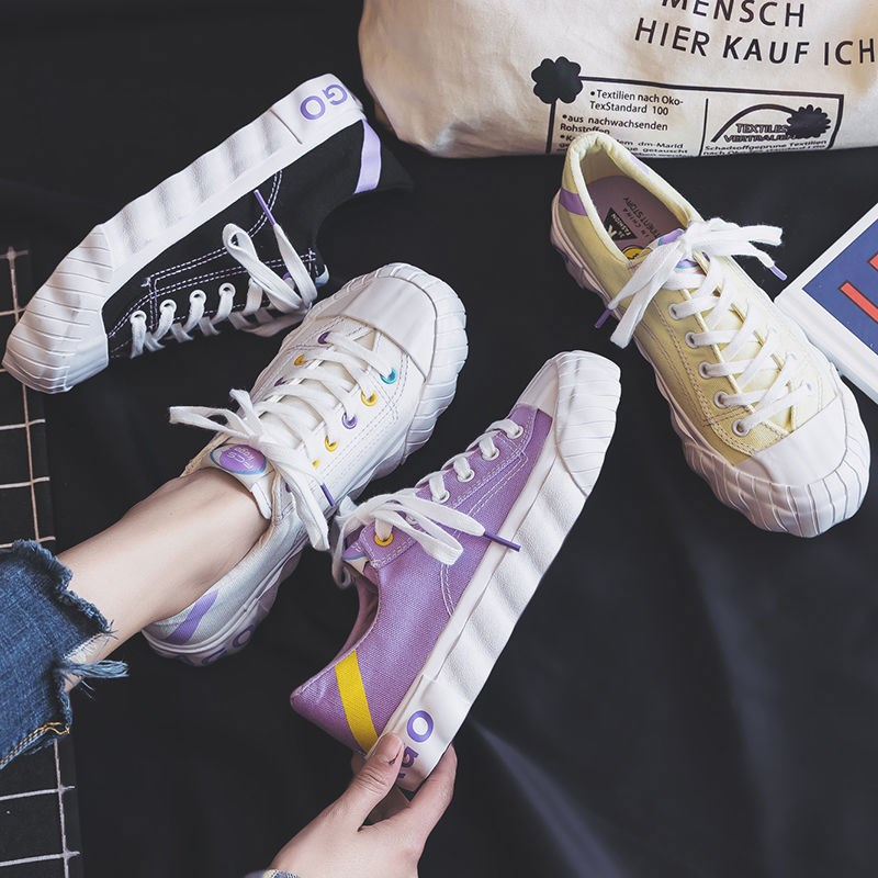 Canvas shoes female students spring 2020 new Korean version of lovely purple biscuit shoes retro versatile low top small white shoes
