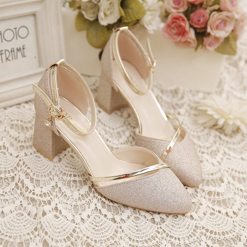 Single shoes 2020 new Baotou sandals womens summer versatile thick heels summer one word button spring Bridesmaid high heels middle heel