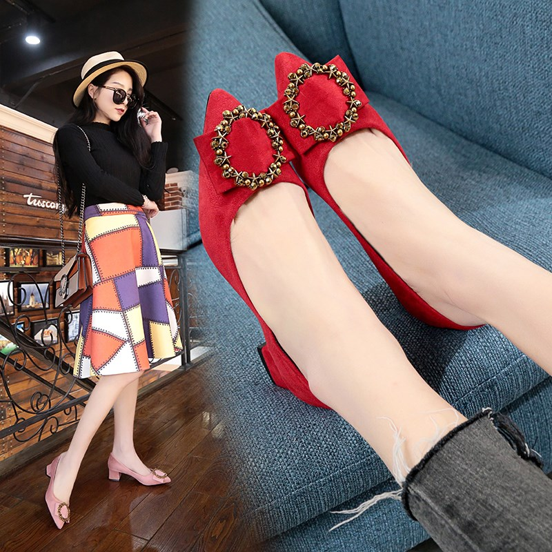 4.5cm medium heel single shoes female pointed work shoes suede red wedding bride shoes thick heel high heel ol womens shoes