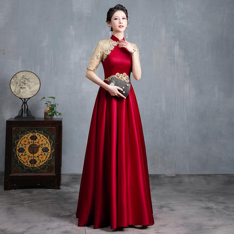 酒红色晚礼服裙女2021新款高端大气敬酒服主持人走秀合唱团演出服