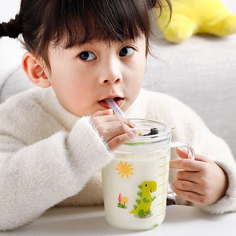 (用2元券)宝宝带刻度创意直饮卡通防漏吸管杯