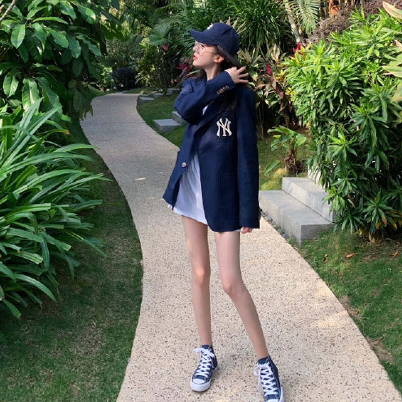 2019 NEW MLB suit mens and womens BF style loose Vintage Embroidery small suit NY Yankees spring and autumn jacket