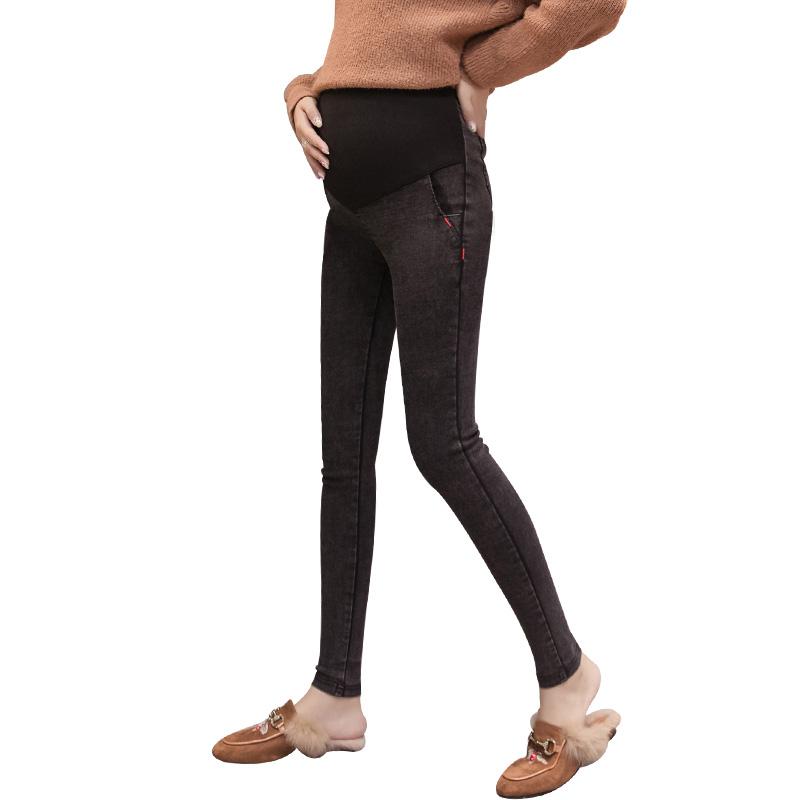 中国子加厚长裤春季牛仔裤孕妇打底裤秋冬外穿时尚款秋冬装加绒孕