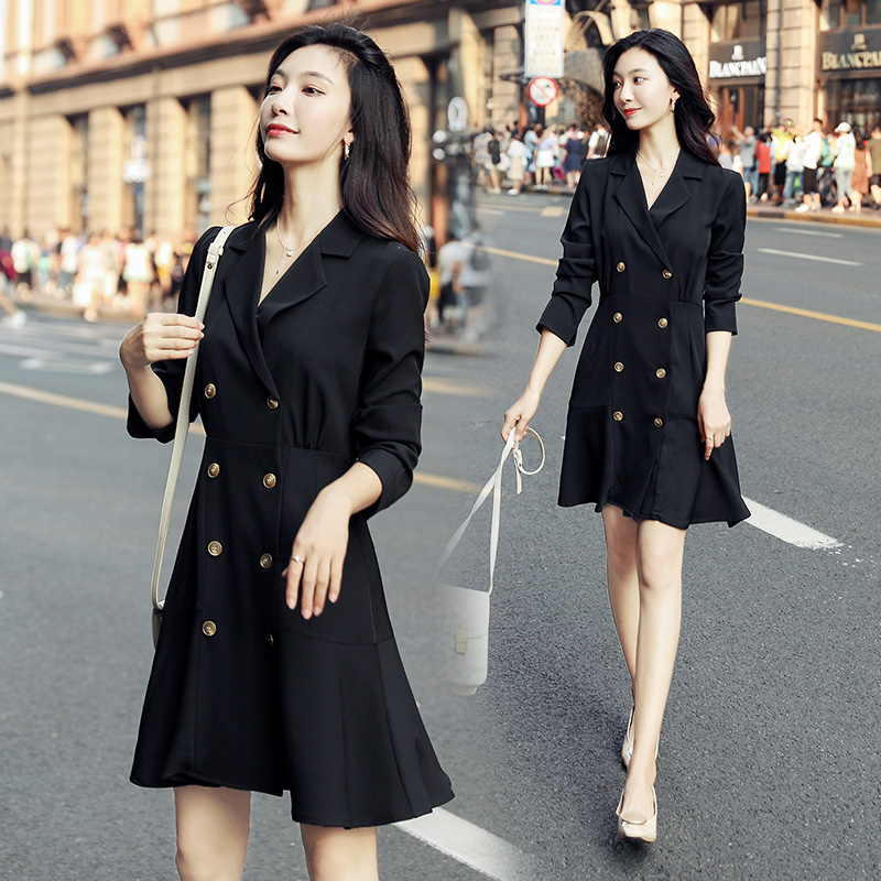 2020 spring new Korean fashion solid color dress with slim waist and fashionable light mature style skirt