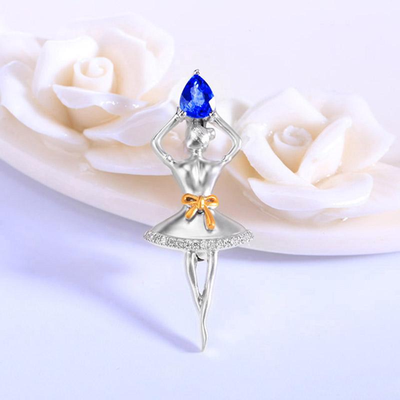 善合0.48克拉蓝宝石胸针可作吊坠女款18k金镶嵌钻石跳舞人儿 现货