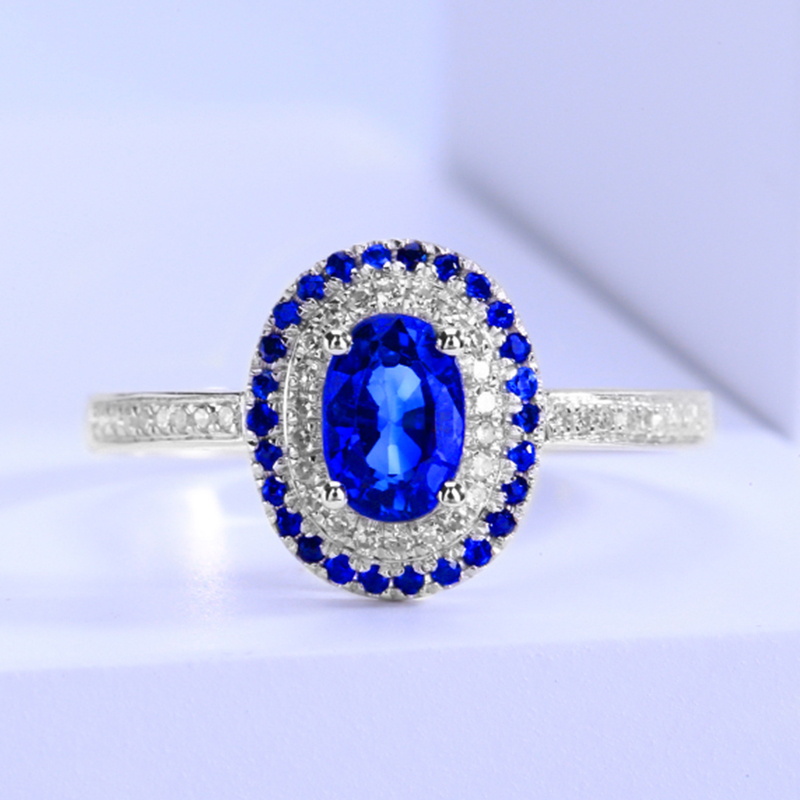 Shanhe 0.858 carat sapphire ring, womens 18K gold inlaid diamond, luxury and noble model in stock
