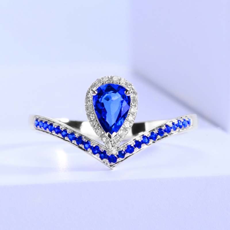 Shanhe 0.562 carat sapphire ring womens 18K gold inlaid diamond fashion water drop personalized customization