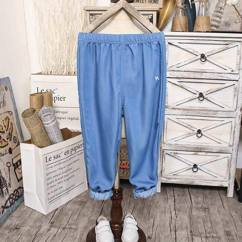 Childrens Denim mosquito proof pants. Boy Xia Chun childrens boy big boy straight tube new half body anti tattoo thin girl