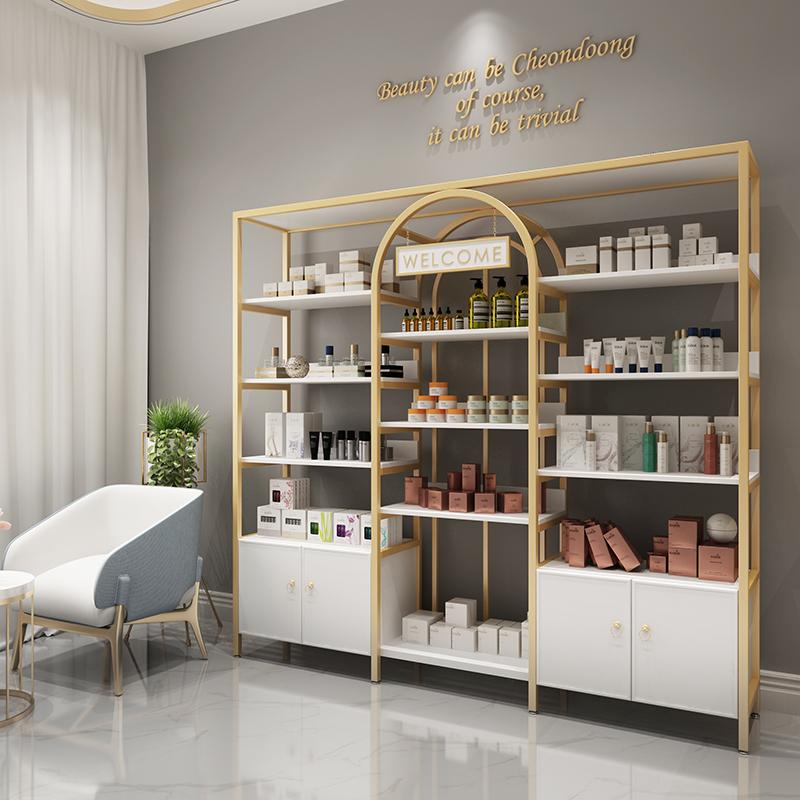 北欧化妆品展示柜产品柜展示架货架美容院美甲护肤ins轻奢陈列架